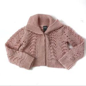 Baby GAP Pink Crochet Wool Blend Cardigan